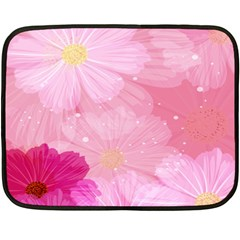 Cosmos Flower Floral Sunflower Star Pink Frame Double Sided Fleece Blanket (mini)  by Mariart