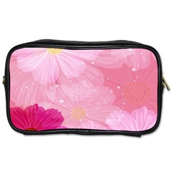 Cosmos Flower Floral Sunflower Star Pink Frame Toiletries Bags 2 Side by Mariart