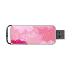 Cosmos Flower Floral Sunflower Star Pink Frame Portable Usb Flash (one Side) by Mariart