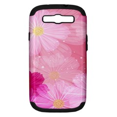 Cosmos Flower Floral Sunflower Star Pink Frame Samsung Galaxy S Iii Hardshell Case (pc+silicone) by Mariart