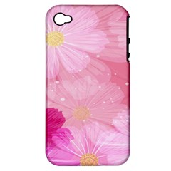 Cosmos Flower Floral Sunflower Star Pink Frame Apple Iphone 4/4s Hardshell Case (pc+silicone) by Mariart