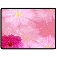 Cosmos Flower Floral Sunflower Star Pink Frame Double Sided Fleece Blanket (large)  by Mariart
