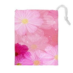 Cosmos Flower Floral Sunflower Star Pink Frame Drawstring Pouches (extra Large) by Mariart