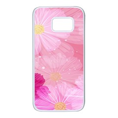 Cosmos Flower Floral Sunflower Star Pink Frame Samsung Galaxy S7 White Seamless Case by Mariart