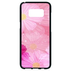 Cosmos Flower Floral Sunflower Star Pink Frame Samsung Galaxy S8 Black Seamless Case by Mariart