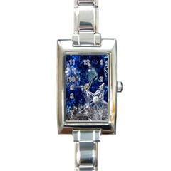 Christmas Silver Blue Star Ball Happy Kids Rectangle Italian Charm Watch by Mariart