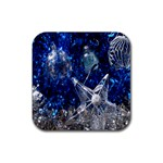 Christmas Silver Blue Star Ball Happy Kids Rubber Square Coaster (4 pack)  Front