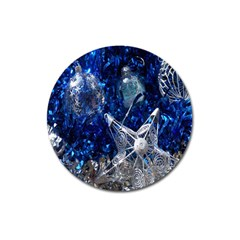 Christmas Silver Blue Star Ball Happy Kids Magnet 3  (round) by Mariart