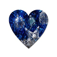 Christmas Silver Blue Star Ball Happy Kids Heart Magnet by Mariart