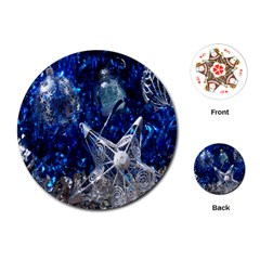 Christmas Silver Blue Star Ball Happy Kids Playing Cards (round)  by Mariart