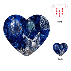 Christmas Silver Blue Star Ball Happy Kids Playing Cards (heart)  by Mariart