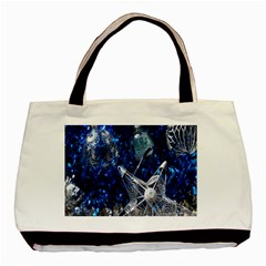 Christmas Silver Blue Star Ball Happy Kids Basic Tote Bag (two Sides) by Mariart