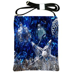 Christmas Silver Blue Star Ball Happy Kids Shoulder Sling Bags by Mariart