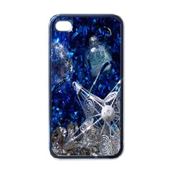 Christmas Silver Blue Star Ball Happy Kids Apple Iphone 4 Case (black) by Mariart