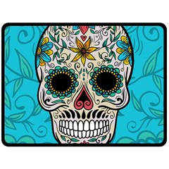 Sugar Skull New 2015 Fleece Blanket (large)  by crcustomgifts