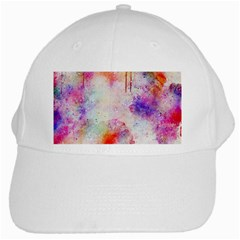 Watercolor Galaxy Purple Pattern White Cap by paulaoliveiradesign