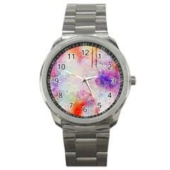 Watercolor Galaxy Purple Pattern Sport Metal Watch by paulaoliveiradesign