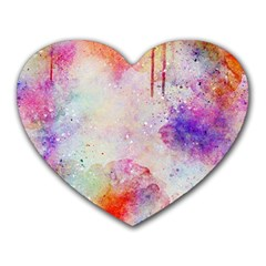 Watercolor Galaxy Purple Pattern Heart Mousepads by paulaoliveiradesign