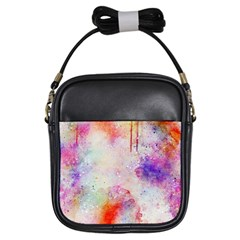 Watercolor Galaxy Purple Pattern Girls Sling Bags by paulaoliveiradesign