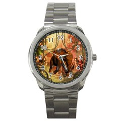 Steampunk, Steampunk Elephant With Clocks And Gears Sport Metal Watch by FantasyWorld7