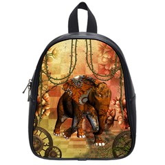 Steampunk, Steampunk Elephant With Clocks And Gears School Bag (small) by FantasyWorld7