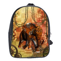 Steampunk, Steampunk Elephant With Clocks And Gears School Bag (xl) by FantasyWorld7
