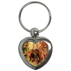 Steampunk, Steampunk Elephant With Clocks And Gears Key Chains (heart)  by FantasyWorld7