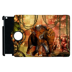 Steampunk, Steampunk Elephant With Clocks And Gears Apple Ipad 3/4 Flip 360 Case by FantasyWorld7
