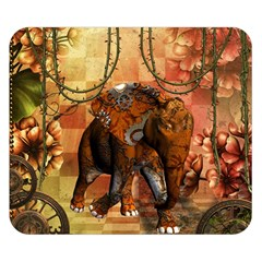 Steampunk, Steampunk Elephant With Clocks And Gears Double Sided Flano Blanket (small)  by FantasyWorld7