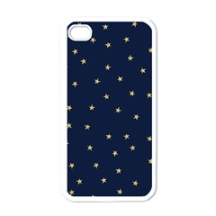 Navy/gold Stars Apple Iphone 4 Case (white) by Colorfulart23