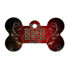 The Celtic Knot With Floral Elements Dog Tag Bone (two Sides) by FantasyWorld7