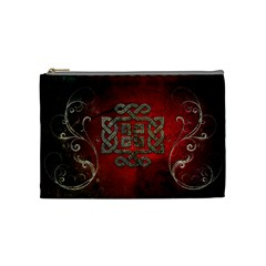 The Celtic Knot With Floral Elements Cosmetic Bag (medium)  by FantasyWorld7
