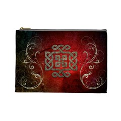 The Celtic Knot With Floral Elements Cosmetic Bag (large)  by FantasyWorld7