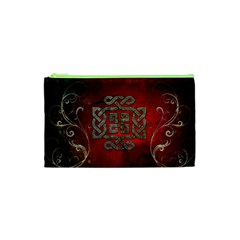 The Celtic Knot With Floral Elements Cosmetic Bag (xs) by FantasyWorld7