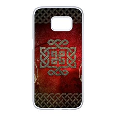 The Celtic Knot With Floral Elements Samsung Galaxy S7 Edge White Seamless Case by FantasyWorld7