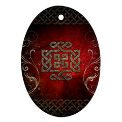 The Celtic Knot With Floral Elements Ornament (oval) by FantasyWorld7