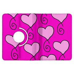 Curly Heart Bg  Pink Kindle Fire Hdx Flip 360 Case by AllOverIt