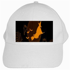 Day Hallowiin Ghost Bat Cobwebs Full Moon Spider White Cap by Mariart