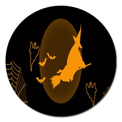 Day Hallowiin Ghost Bat Cobwebs Full Moon Spider Magnet 5  (round) by Mariart