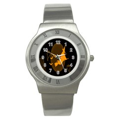 Day Hallowiin Ghost Bat Cobwebs Full Moon Spider Stainless Steel Watch by Mariart