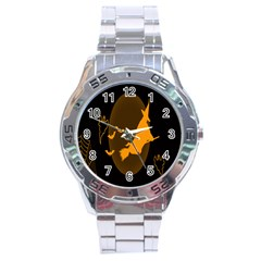 Day Hallowiin Ghost Bat Cobwebs Full Moon Spider Stainless Steel Analogue Watch by Mariart