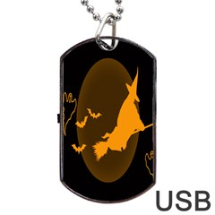 Day Hallowiin Ghost Bat Cobwebs Full Moon Spider Dog Tag Usb Flash (one Side) by Mariart