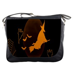 Day Hallowiin Ghost Bat Cobwebs Full Moon Spider Messenger Bags by Mariart
