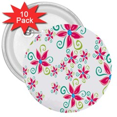 Flower Beauty Sexy Rainbow Sunflower Pink Green Blue 3  Buttons (10 Pack)  by Mariart