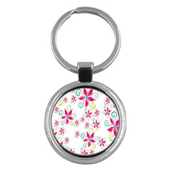 Flower Beauty Sexy Rainbow Sunflower Pink Green Blue Key Chains (round)  by Mariart