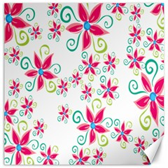 Flower Beauty Sexy Rainbow Sunflower Pink Green Blue Canvas 16  X 16   by Mariart