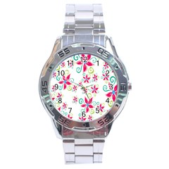 Flower Beauty Sexy Rainbow Sunflower Pink Green Blue Stainless Steel Analogue Watch by Mariart
