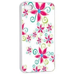 Flower Beauty Sexy Rainbow Sunflower Pink Green Blue Apple Iphone 4/4s Seamless Case (white) by Mariart