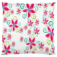 Flower Beauty Sexy Rainbow Sunflower Pink Green Blue Large Flano Cushion Case (one Side) by Mariart