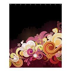 Flower Back Leaf Polka Dots Black Pink Shower Curtain 60  X 72  (medium)  by Mariart